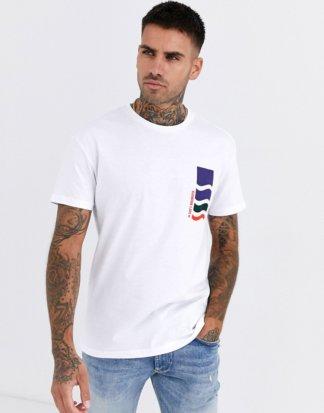 Jack & Jones - Originals - Legeres T-Shirt mit Grafik hinten in Weiß