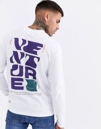 Jack & Jones - Originals - Legeres, langärmliges Shirt mit Grafik hinten in Weiß