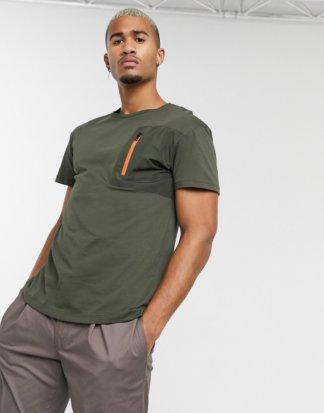Jack & Jones Originals - T-Shirt in Khaki mit Reißverschlusstasche-Grün