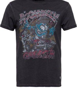 """KingKerosin T-Shirt """"Rockabilly Greaser"""" mit Oilwash-Effekt und Frontprint und Ärmelaufschlag"""