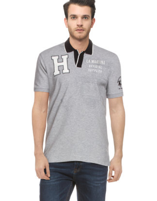 LA Martina Polo-Shirt, gerader Schnitt grau
