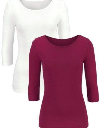LASCANA 3/4-Arm-Shirt (2er-Pack) aus weicher Feinripp-Qualität