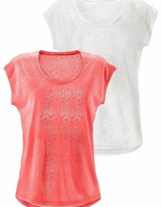LASCANA T-Shirt (2er-Pack) Ausbrenner-Qualität mit leicht transparentem Ethno-Design