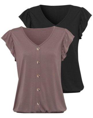 LASCANA T-Shirt (2er-Pack) mit modischen Flügelärmelchen