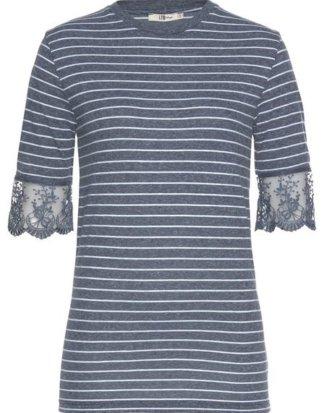 """LTB T-Shirt """"GOLOME"""" mit Streifen und floraler Spitze"""