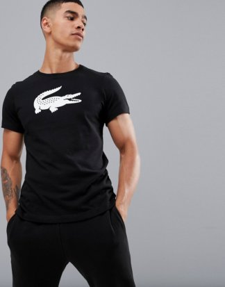 Lacoste - Sport - Schwarzes T-Shirt mit großem Krokodil-Logo