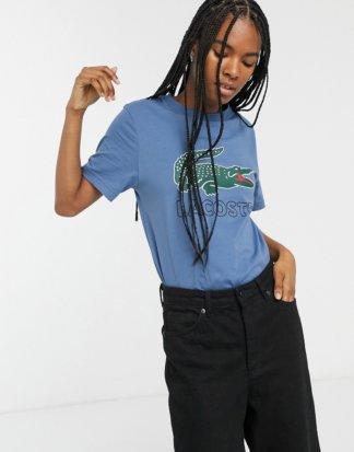 Lacoste - T-Shirt mit Retro-Krokodillogo-Blau