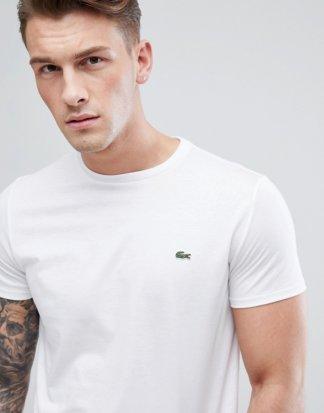 Lacoste - Weißes T-Shirt aus Pima-Baumwolle mit Logo