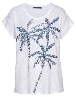 LeComte Print-Shirt Mit Palmen-Druck und Pailletten