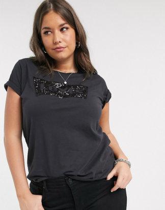 Levi's Plus - Perfect - T-Shirt mit Pailletten-Logo-Schwarz