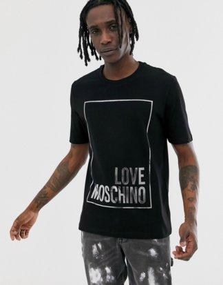 Love Moschino - Schwarzes T-Shirt mit Metallic-Logo