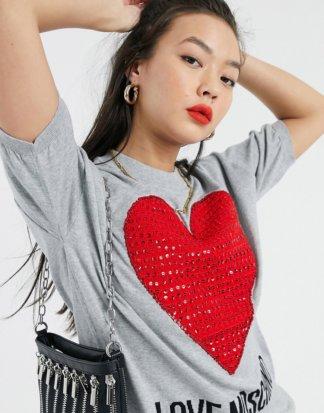 Love Moschino - T-Shirt mit Strass-verziertem Herzlogo-Grau