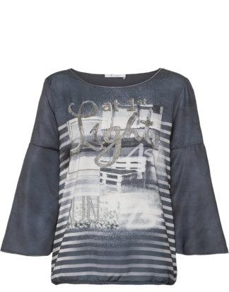 Monari Shirt, 7/8-Arm, Rundhals blau