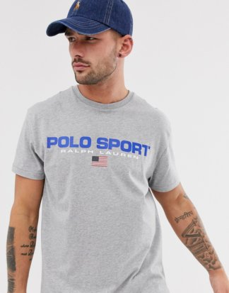 Polo Ralph Lauren - Sportliches, graues Retro-T-Shirt mit Capsule-Logo in regulärer Custom-Passform