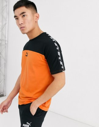 Puma - Oranges T-Shirt mit Tape