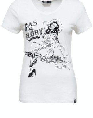 "QueenKerosin Print-Shirt ""Gas & Glory"" mit Pin Up Print"