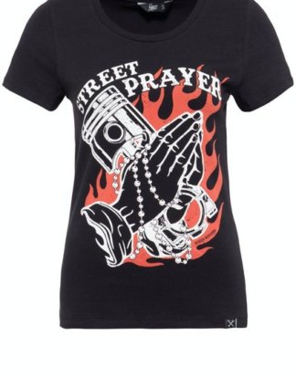 "QueenKerosin Print-Shirt ""Street Prayer"" mit Pin Up Print"