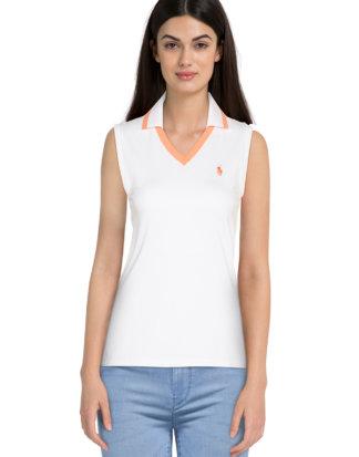Ralph Lauren Polo-Shirt, ärmellos, Tailored Fit weiß