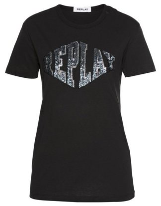 Replay T-Shirt mit Pailletten & Logostickerei