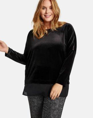 Samt-Shirt mit Chiffon-Patch Schwarz M