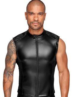 Shirt im (Power-)Wetlook mit Lack-Einsätzen und Reißverschluss vorne