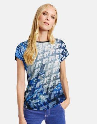Shirt mit Satin-Front Blau 42/M