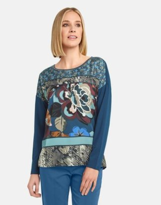 Shirt mit Satin-Front Blau XS
