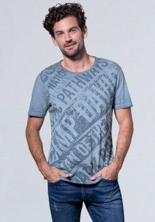 Slub T-Shirt mit Watercolour Wording Print Farbe : fog blue , Größe: L