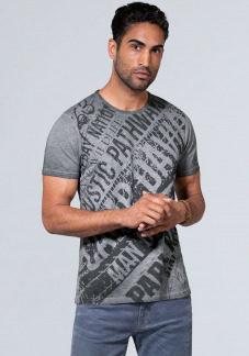Slub T-Shirt mit Watercolour Wording Print Farbe : fossil grey , Größe: L
