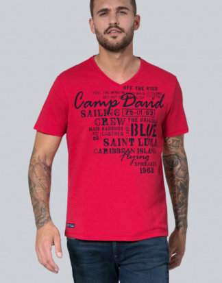 Slub Yarn T-Shirt mit V-Neck und Print Farbe : red sun , Größe: XL