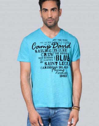 Slub Yarn T-Shirt mit V-Neck und Print Farbe : summer aqua , Größe: M