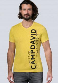 Sport T-Shirt mit V-Neck und Dull Print Farbe : industrial yellow , Größe: L