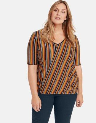 Streifen-Shirt mit Glitzer-Effekt Blau 48/XL