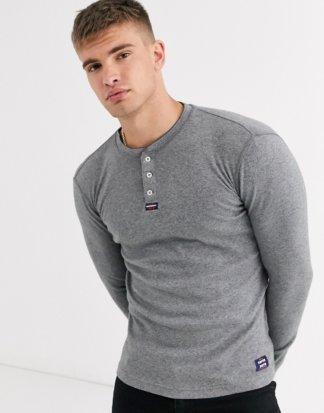 Superdry - Heritage - Graues, langärmliges Grandad-T-Shirt