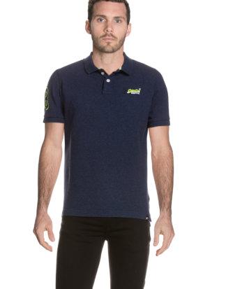 Superdry Polo-Shirt Classic Pique, gerader Schnitt blau