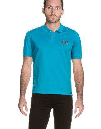 Superdry Polo-Shirt Mercerised Lite City, gerader Schnitt blau