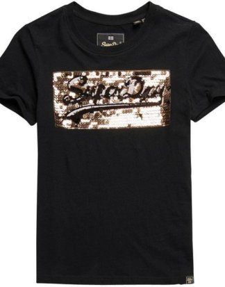 "Superdry T-Shirt ""VINTAGE LOGO STAR SEQUIN ENTRY TEE"" mit Glitzerpailletten"