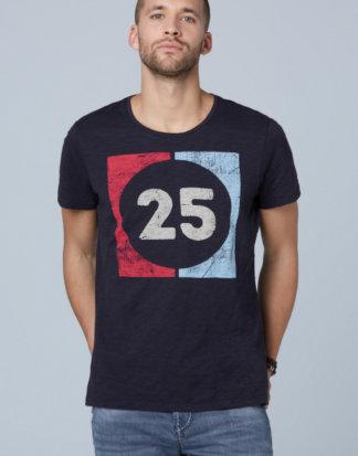 T-Shirt aus Flammgarn mit Used Print Farbe : absolute blue , Größe: L