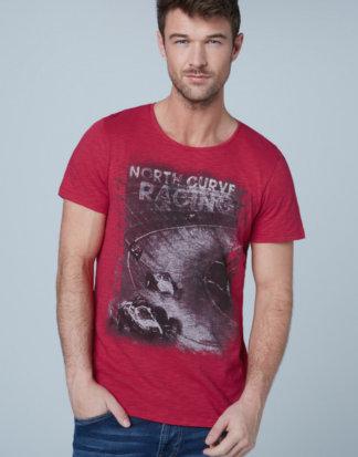 T-Shirt aus Flammgarn mit Used Print Farbe : cardinal , Größe: L