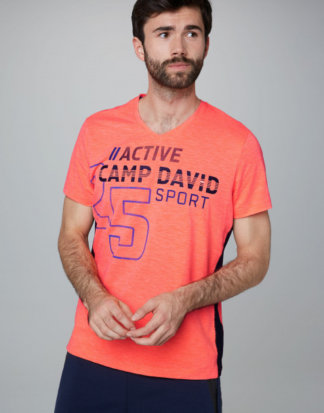 T-Shirt aus Flammgarn mit V-Neck und Print Farbe : neon fire , Größe: L