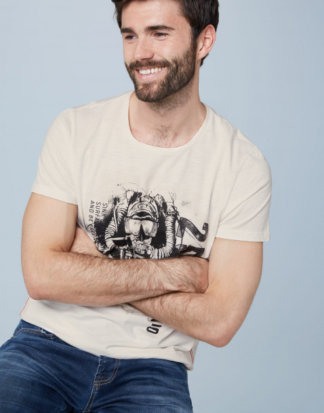 T-Shirt aus Slub Jersey mit Diving Print Farbe : ivory , Größe: L