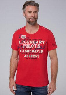 T-Shirt mit Canvas-Applikationen Farbe : red sun , Größe: L