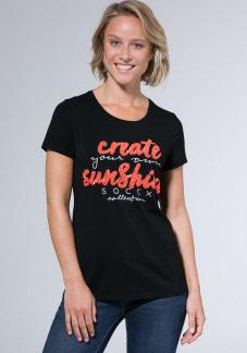 T-Shirt mit Glitzer-Artwork Farbe : black / heart , Größe: L