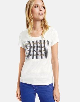 T-Shirt mit Metallic-Prägung Weiß S Mindestbestellwert von 29 € erforderlich