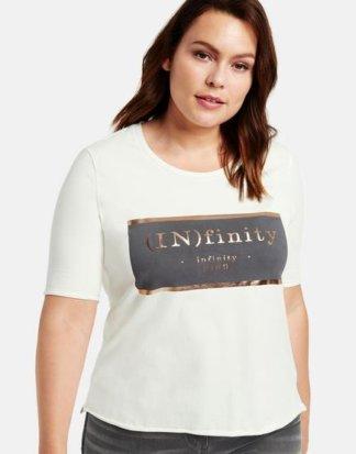 T-Shirt mit Metallic-Print Weiß 46/L