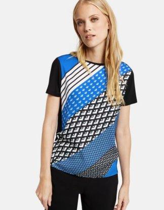 T-Shirt mit Satin-Front Blau 36/S