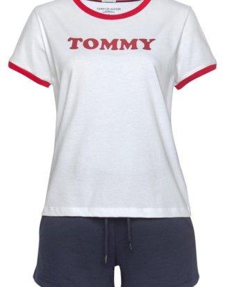 TOMMY HILFIGER T-Shirt mit Logoschriftzug und Farbeinsätzen