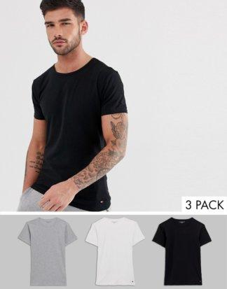 Tommy Hilfiger - 3er Packung Lounge-Stretch-T-Shirts mit Rundhalsausschnitt in normaler Passform-Mehrfarbig