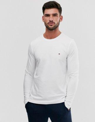 Tommy Hilfiger - Schmales, klassisches Lagarm-T-Shirt mit Logo in Weiß