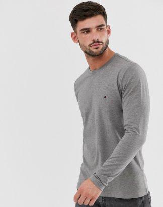 Tommy Hilfiger - Schmales, klassisches Langarm-T-Shirt mit Logo in Grau